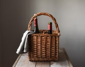 Vintage Wine Basket, Willow Bottle Carrier, Picnic Basket, Home & Living, Storage and Organization, Home Decor,
