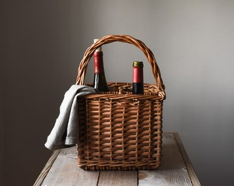 Vintage Wine Basket, Willow Bottle Carrier, Picnic Basket, Home & Living, Storage and Organization, Home Decor,