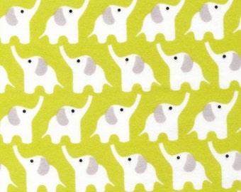 Cloud 9 Fanfare Elephant in Citron, by the yard, polka dot print, Designer Organic Flannel Cotton Print Sewing Crafting Quilting Supplies
