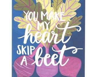 Heart Skip a Beet Art Print - 11x14 // 1canoe2 // Hand Illustrated