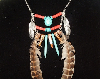 Native American Tribal Necklace, Turquoise, Coral, Metal Leaves, Dagger Shells, Feathers, Gold Flecked Quartz, Boho, Festival, Gypsy, OOAK