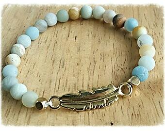 amazonite bracelet, boho jewelry, stacking bracelet, feather charm bracelet, birthday gift for, mothers day gift mom gift, healing jewelry