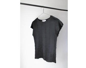 1990's Black Silk Pleat Top