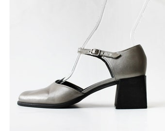1990's Silver Metallic Mary Janes Platforms