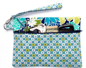 Turquoise Floral Wristlet, Navy Blue, Green White Makeup Bag, Small Front Zippered Purse, Womens Clutch Wallet, Camera, Phone or Gadget Bag