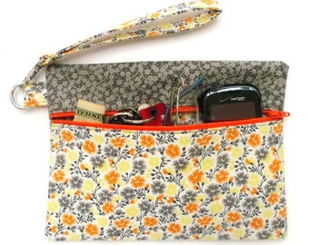 Orange Floral Wristlet, Grey Yellow Flowers Clutch, Womens Zippered Wallet, Camera, Makeup or Phone Holder, Small Zip Front Floral Purse