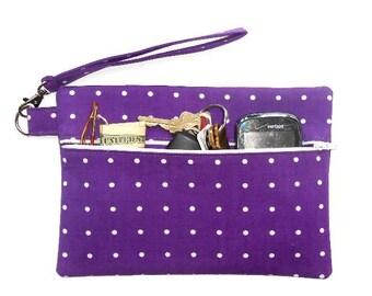 Purple Polka Dot Wristlet, White Dots Clutch, Plum Makeup or Camera Bag, Front Zippered Purse, Phone or Gadget Holder, Zipper Womans Wallet