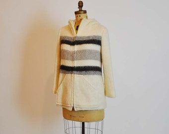 1960s coat / Vintage 60's Nordic Hooded Coat and Mittens