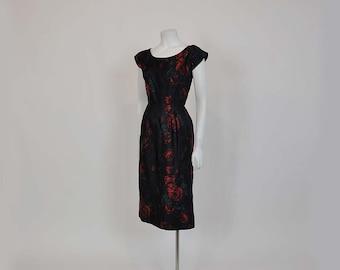 1950s dress / Water Color Memories Roses Vintage 50's Silk Dress
