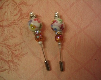 2 Bead Stick Pins Scrapbook Card Making Embellishment