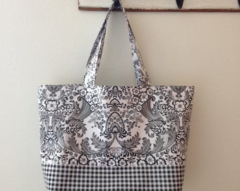 Beth's Big Black Paradise Oilcloth Market Tote Bag with Black Gingham Exterior Contrast