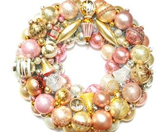Ornament Wreath, Custom Vintage Ornament Wreath, Christmas Wreath,  Holiday Wreath, Pink Ornament Wreath,