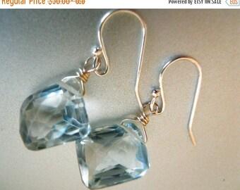 FLASH SALE, Aquamarine quartz free-form earrings, Light blue earrings, Geometric Earrings, dangle Earrings, sparkly earrings