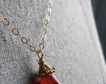 Necklace Sale 15% OFF, Crimson and gold chalcedony necklace, Red Necklace, Christmas Gift, Teardrop Necklace, Gemstone Necklace , Gold Neckl