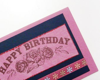 Birthday Greeting Card Pink Happy Birthday Card Western Style Card Fuchsia Greeting Card Blank inside card with envelope OOAK greeting card