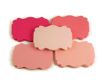 50 Paper Die Cut  Bracket Cards in Pink Pop