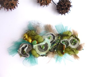 Green hair clip, fiber art, floral, romantic, hand stitched, textile wearable art