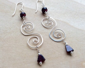 Celtic Spiral Earrings, Garnet Earrings, Celtic Jewelry, Garnet Jewelry, January Birthstone, January Gift