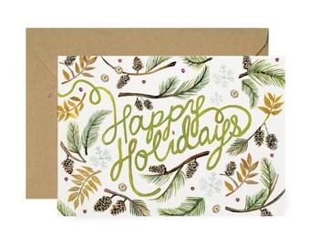 Botanic Greenery Happy Holidays Card - Illustrated Winter, Seasonal, Holidays, Christmas Card