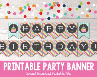 Happy Birthday Printable Banner Party Bunting Colorful Cupcake Polka Dots Stripes PDF - INSTANT DOWNLOAD