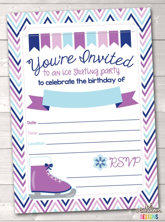 Items similar to Instant Download Ice Skating Birthday ...