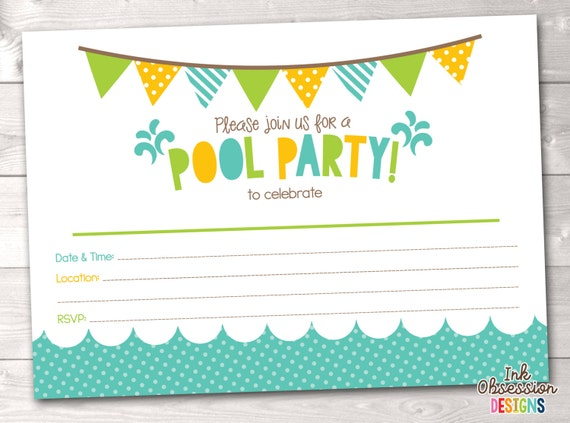 Pool Party Printable Invitation Fill In Blank Invite Blue