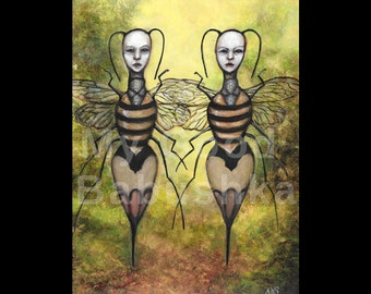 The Rival Queens, Original Painting, Queen Bees, Sting, Wasps, Hornets, Insects, Fairy Tale, Folk Tale, Surreal, Anthropomorphic Insects,