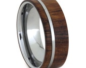Men's Wood Ring, Tungsten Wedding Band Inlaid With Honduran Rosewood, Unique Ring
