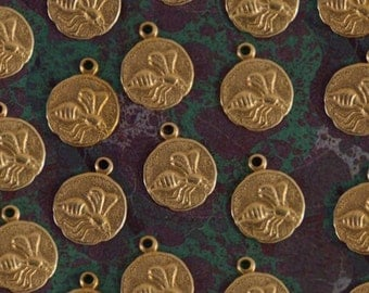 24 Small Round Brass Bee Charms
