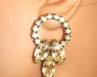 vintage art deco style rhinestone hoop pierced earrings