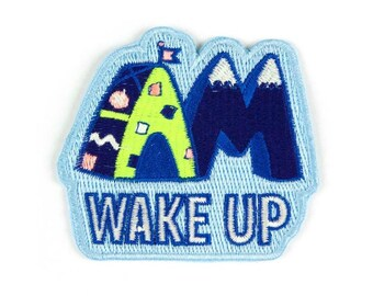 Wake Up Iron On Patch - Embroidered Patch - Woven Patch - Mokuyobi Threads - Patches for Jeans - Cute Patches - Patches for Jackets