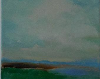 Beach Painting- 8 x 10- Minimalist Beach Painting- Original Oil Painting- 3/4 inch painted Edge