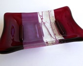Cranberry and Pink Fused Glass Soap Dish