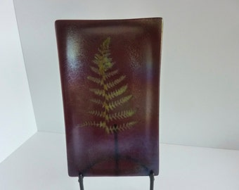 Irridescent Plum Fossil Vitra Fern Fused Glass Platter