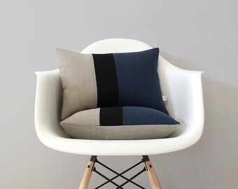 Colorblock Pillow Cover with Navy Blue, Black and Natural Linen Stripes by JillianReneDecor, Modern Home Decor, Stripe Trio, Fall 2016