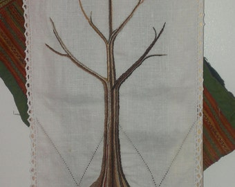 Tall tree - embroidered wall hanging