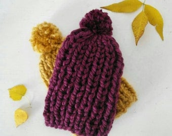 Children's Ribbed Handknitted Pom Pom Winter Hat in Plum Yellow More Colors Available Fall Autumn Accessory