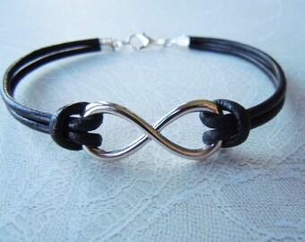 Infinity Bracelet, Black Leather Bracelet, Valentines Gift, Friendship Bracelet, Infinity Jewelry, Birthday Gift, Men, Women, Bridesmaids