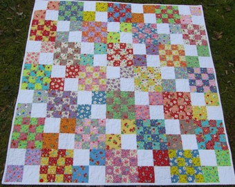 Adorable 16/4 Patch Baby Girl or Toddler Quilt - Lecien Retro 30s Collection