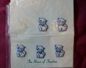 Mini Vintage Kitty Cat Patches / Blue White /  Kittens