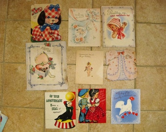 Vintage 9 pc lot Children Baby Greeting Cards 1950s Used from Pam