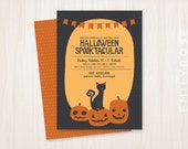 Jack O Lantern Black Cat Halloween Invitation Printable PDF | Full Moon | Spooktacular  | Customized | Digital Download