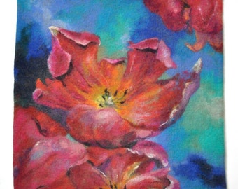 Felted painting of wool. Felted wall hanging picture. TULIPS. OOAK.