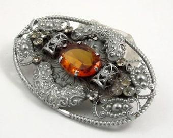 Art Deco Czech Brooch, Filigree Brooch with Amber Glass Stone, Silver Tone Brooch, Large Brooch, Bohemian Jewelry, Sash Pin