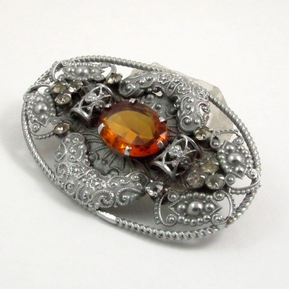 Art Deco Czech Brooch, Large Silver Tone Filigree Brooch with Amber Paste Stone