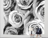 ROSES Black White Wall Tapestry, Flower Wall Art, Large Tapestry, Fine Art Photography, Nature, Floral Decor, Feminine, Dorm, Rosebuds