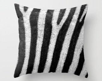 ZEBRA Animal Print Throw Pillow, Black White Pillow, Decorative Pillow, Nature Cushion, Stripes Pillow, Safari, Contemporary, Modern, Dorm