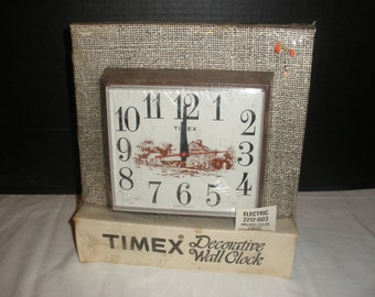 Vintage Timex Decorative Electric Wall Clock Model 2212-003 New Old Stock Original Packaging