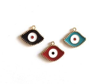 1 pc MAtte Gold Plated Enamaled Evil Eye Charm-20x13mm-(001-040GP)