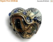 ON SALE 30% OFF Beige & Ivory Free Style Glass Heart Focal Bead - Handmade Glass Lampwork Bead 11815805